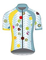 Недорогие -21Grams Муж. С короткими рукавами Велокофты Полиэстер Голубой + Желтый Горошек Фрукты Смешной Велоспорт Джерси Верхняя часть Горные велосипеды Шоссейные велосипеды / Слабоэластичная / Дышащий