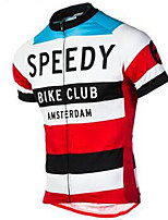 cheap -21Grams Men's Short Sleeve Cycling Jersey Polyester Red / White Retro Stripes Bike Jersey Top Mountain Bike MTB Road Bike Cycling UV Resistant Breathable Quick Dry Sports Clothing Apparel / Stretchy