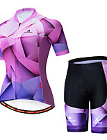 cheap -Miloto Women's Short Sleeve Cycling Jersey with Shorts Purple Bike Breathable Sports Patterned Mountain Bike MTB Road Bike Cycling Clothing Apparel / Stretchy