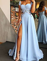 cheap -A-Line Elegant Floral Engagement Prom Dress Scoop Neck Sleeveless Sweep / Brush Train Satin with Split Appliques 2020