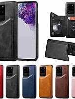 cheap -Case For Samsung Galaxy S20 / S20 Plus / S20 Ultra Wallet / Card Holder / with Stand Back Cover Solid Color Calf Print PU Leather / TPU for Galaxy S10 / S10E / S10 Plus / A50(2019) / A30S(2019)