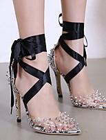 cheap -Women's Sandals Summer Stiletto Heel Peep Toe Daily PVC Black / Animal Print