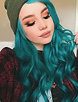 cheap -Synthetic Lace Front Wig Wavy Middle Part Lace Front Wig Ombre Long Ombre Green Synthetic Hair 18-26 inch Women's Cosplay Soft Party Green Ombre