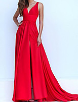 cheap -A-Line Elegant Red Engagement Formal Evening Dress V Neck Sleeveless Sweep / Brush Train Satin with Pleats Split 2020