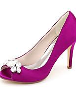 cheap -Women's Wedding Shoes Spring / Summer Stiletto Heel Peep Toe Minimalism Wedding Party & Evening Rhinestone Solid Colored Satin White / Black / Purple