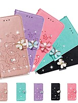 cheap -Case For Samsung Galaxy A51/Galaxy S20 Ultra/Galaxy Note 10 Plus Wallet / Rhinestone / with Stand Full Body Cases Solid Colored PU Leather For Galaxy A71/A01/A21/A81/A91/A10S/A20S/A30S/A50S/A50/A70