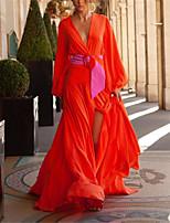 cheap -Sheath / Column Empire Minimalist Holiday Prom Dress V Neck Long Sleeve Floor Length Spandex with Sleek 2020