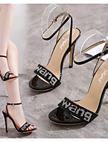 cheap -Women's Sandals Summer Stiletto Heel Round Toe Daily PU Black