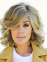 cheap -Synthetic Wig Curly Asymmetrical Wig Short Light golden Synthetic Hair 12 inch Women's Fashionable Design Easy dressing curling Black