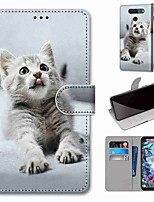 cheap -Case For LG Q70 / LG K50S / LG K40S Wallet / Card Holder / with Stand Full Body Cases Little Grey Cat PU Leather / TPU for LG K30 2019 / LG K20 2019