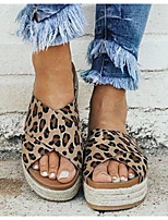 cheap -Women's Sandals Summer Creepers Round Toe Daily PU Dark Brown / White / Black / Animal Print
