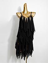 Недорогие -Латино Платье С разрезами Комбинация материалов Жен. Выступление Без рукавов Сетка Молочное волокно