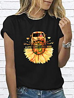cheap -Women's Floral Daisy T-shirt Daily Wine / White / Black / Red / Gray