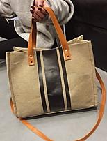 cheap -Women's Canvas Top Handle Bag Canvas Bag Color Block Black / White / Khaki