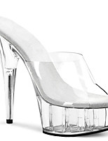 cheap -Women's Sandals Summer Stiletto Heel Peep Toe British Office & Career Solid Colored PU White / Clear / Transparent / PVC