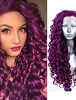 cheap -Synthetic Lace Front Wig Curly Deep Curly Free Part Lace Front Wig Long Purple Synthetic Hair 18-26 inch Women's Cosplay Soft Adjustable Purple