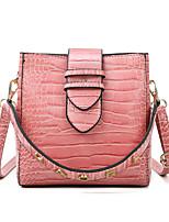 cheap -Women's Zipper PU Top Handle Bag Leather Bags Crocodile Wine / Black / Blushing Pink / Fall & Winter