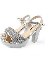 cheap -Women's Sandals Summer Block Heel Open Toe Daily Outdoor Sequin PU Black / Gold / Silver