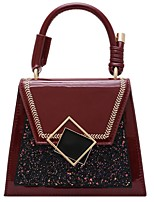 cheap -Women's PU Top Handle Bag Leather Bags Solid Color Wine / Black / Green