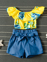 cheap -Kids Girls' Active Basic Vacation Festival Blue Rose Floral Solid Colored Ruffle Short Sleeve Short Short Clothing Set Blue