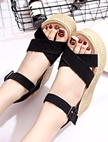 cheap -Women's Sandals Wedge Sandals Summer Wedge Heel Open Toe Daily PU Black / Yellow / Army Green