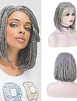 cheap -Synthetic Lace Front Wig Box Braids Plaited Middle Part with Baby Hair Lace Front Wig Pink Short Grey Synthetic Hair 12-16 inch Women's Party Women Synthetic Pink Gray