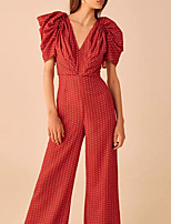 cheap -Jumpsuits Vintage Boho Holiday Prom Dress V Neck Short Sleeve Floor Length Spandex with Pattern / Print 2020 / Puff / Balloon Sleeve