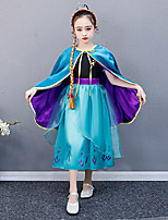 cheap -Princess Anna Dress Outfits Flower Girl Dress Girls' Movie Cosplay A-Line Slip Blue Dress Cloak Children's Day Masquerade Tulle Polyester