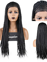 cheap -Synthetic Lace Front Wig Box Braids Plaited Middle Part Lace Front Wig Long Black#1B Synthetic Hair 18 24 inch Women's Party Women Synthetic Black