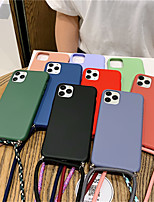 cheap -Fashion Colored Strap Candy Phone Case For iPhone SE2020 / 11 / 11Pro / 11 Pro Max / X / XS  /XR / XS Max / 8Plus / 8 / 7Plus / 7 / 6Plus /  6 / 6S Plus  / 6s Matte Soft Silicone Lanyard Case Cover