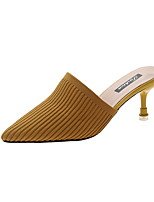 cheap -Women's Sandals Summer Flared Heel Pointed Toe Daily PU Black / Yellow / Beige