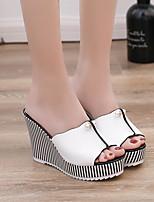 cheap -Women's Sandals Wedge Sandals Summer Wedge Heel Open Toe Daily PU White / Black
