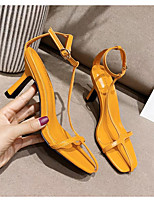 cheap -Women's Sandals Heel Sandals Summer Stiletto Heel Open Toe Daily PU White / Black / Yellow
