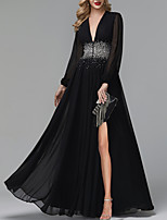 cheap -A-Line Luxurious Black Party Wear Formal Evening Dress V Neck Long Sleeve Floor Length Tulle with Pleats Sequin Split 2020