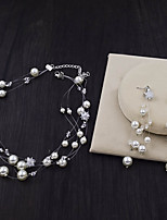 cheap -Women's Crystal Bridal Jewelry Sets Transparent Flower Elegant Vintage Pearl Earrings Jewelry White For Wedding Party 1 set