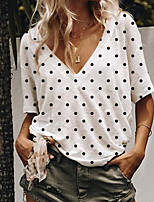 cheap -Women's Polka Dot Loose T-shirt Daily V Neck White / Blue / Blushing Pink / Gray