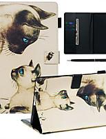 Недорогие -чехол с ручкой samsung galaxy samsung tab t585 / 590/515/725/580/595/510/720 с подставкой / флип / ультратонкий чехол для всего тела кошка из искусственной кожи
