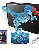 cheap -Dinosaur 3D Night Light Table Desk Lamp  16 Colors Optical Illusion Touch Control Lights with Acrylic Flat & ABS Base & USB Cable for Christmas Gift