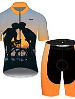 Недорогие -21Grams Муж. С короткими рукавами Велокофты и велошорты Полиэстер Черный / оранжевый Смешной Велоспорт Наборы одежды Дышащий 3D / Эластичная / Горные велосипеды / Шоссейные велосипеды / 3D-панель