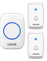 cheap -CACAZI Waterproof Wireless Doorbell LED Light Battery 300M Remote Home Cordless Call Bell EU US UK AU Plug 58 Chime 2 Button 1 Receiver