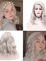 cheap -Synthetic Lace Front Wig Wavy Side Part Lace Front Wig Short Grey Synthetic Hair 10-16 inch Women's Cosplay Adjustable Heat Resistant Gray