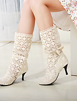 cheap -Women's Boots Summer Pumps Round Toe Daily Faux Leather Mid-Calf Boots White / Black / Brown