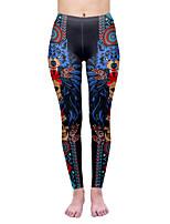 cheap -Women's Sporty Comfort Skinny Gym Yoga Leggings Pants Patterned Skull Ankle-Length Print High Waist Blue
