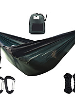 cheap -Camping Hammock Outdoor Portable Breathable Ultra Light (UL) Foldable Parachute Nylon with Carabiners and Tree Straps for 2 person Camping / Hiking Hunting Fishing Black / Green Black / Blue 290*190