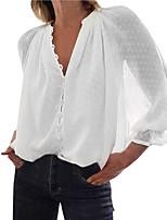 cheap -Women's Plus Size Polka Dot Mesh Loose T-shirt Basic Daily V Neck White