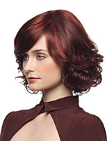 cheap -Synthetic Wig Curly Asymmetrical Wig Short Burgundy Synthetic Hair 12 inch Women's Simple Fashionable Design Women Burgundy