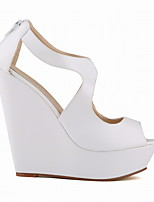 cheap -Women's Sandals Summer Wedge Heel Peep Toe Daily PU White / Black / Yellow