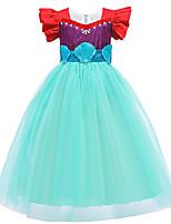 cheap -Kids Toddler Girls' Active Sweet The Little Mermaid Patchwork Patchwork Short Sleeve Midi Dress Green