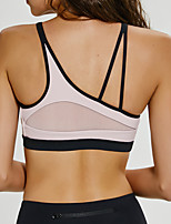 cheap -Women's Sports Bra Medium Support Patchwork Removable Pad Fashion Black Pink Blue Mesh Yoga Running Fitness Bra Top Sport Activewear Breathable Comfort Quick Dry Freedom Stretchy