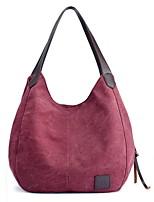 cheap -Women's Zipper Canvas Top Handle Bag Canvas Bag Solid Color Wine